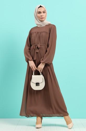 Robe Hijab Couleur Brun 3055-07