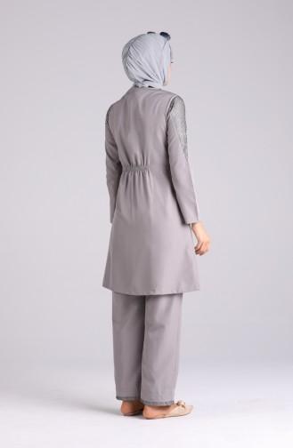 Maillot de Bain Hijab Gris 04