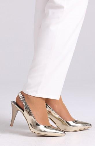 أحذية الكعب العالي لون ذهبي 0032-12