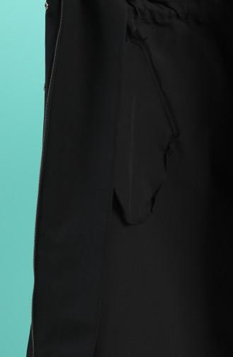 Kapüşonlu Yazlık Trençkot 25003-01 Siyah