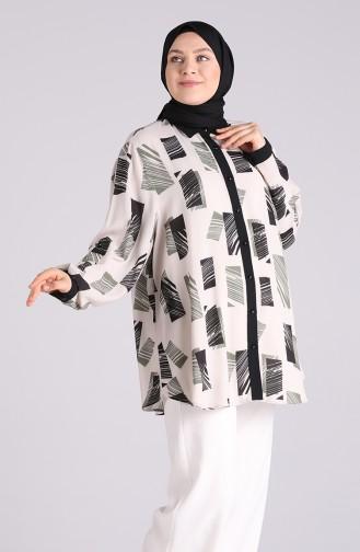 Büyük Beden Desenli Krep Gömlek 201483-03 Bej Haki
