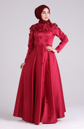 Claret red Islamic Clothing Evening Dress 1017-04