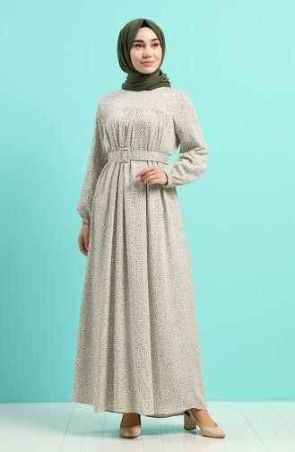 Khaki Hijap Kleider 8092B-04
