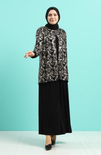 Büyük Beden Takım Görünümlü Elbise 1284-03 Siyah Gold
