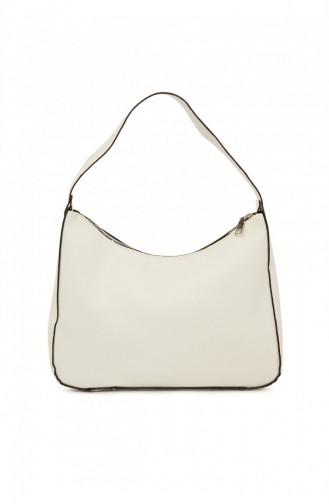 Bagmori Boyalı Büyük Baget Çanta M000004894 Beyaz