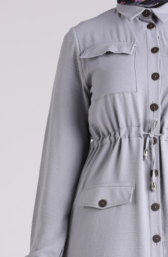 Aerobin Kumaş Cepli Tunik Pantolon İkili Takım 5789-01 Gri