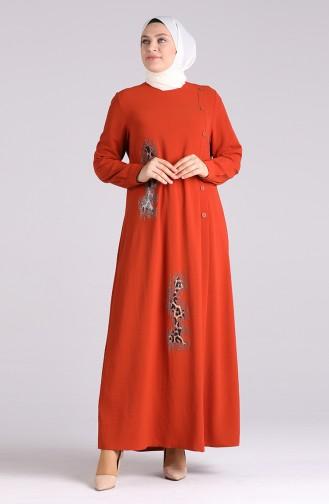 Robe Hijab Couleur brique 1313-02