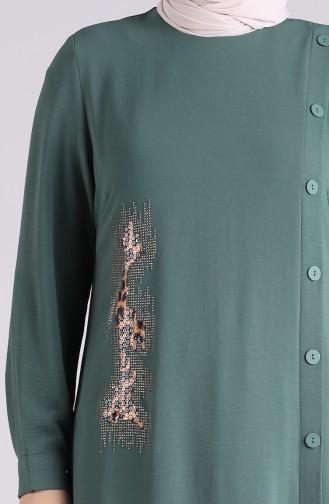 Robe Hijab Vert noisette 1313-03