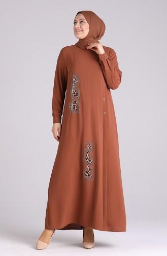Robe Hijab Couleur Brun 1313-08