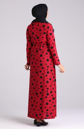 فستان أحمر كلاريت فاتح 5708F-07