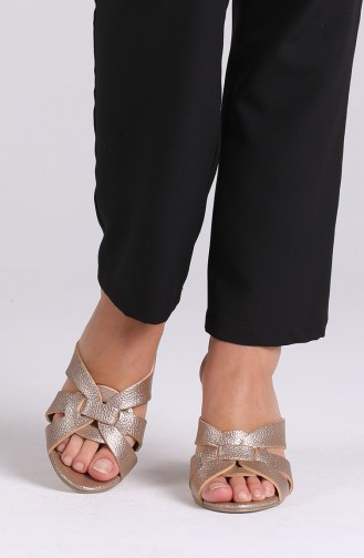 Gold Colour Summer slippers 1362-03