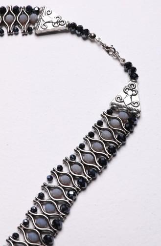 Kristal Kolye 1000-01 Gri Gümüş