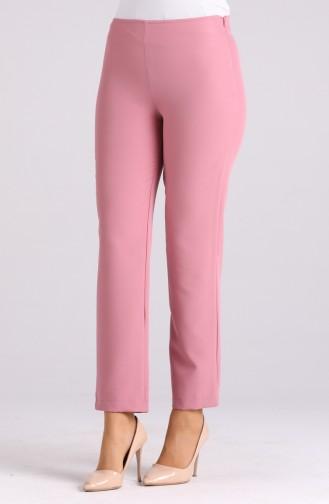 Side Zipper Lycra Trousers 9042-18 Dark Rose 9042-18