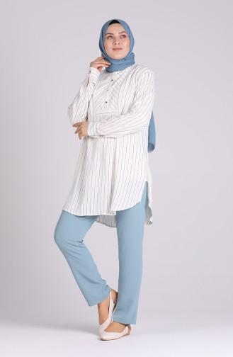 Pantalon Bleu menthe 1336-04