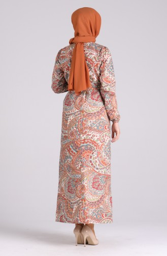 Robe Hijab Couleur brique 4614-02