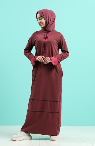 Robe Hijab Rose Pâle Foncé 0455-02