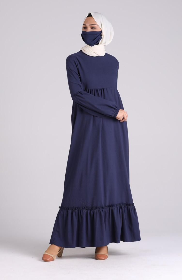 sefamerve tesettur elbise dlbr1410 03 5565131596036461198 1 Navy Blue Dress 1410-03