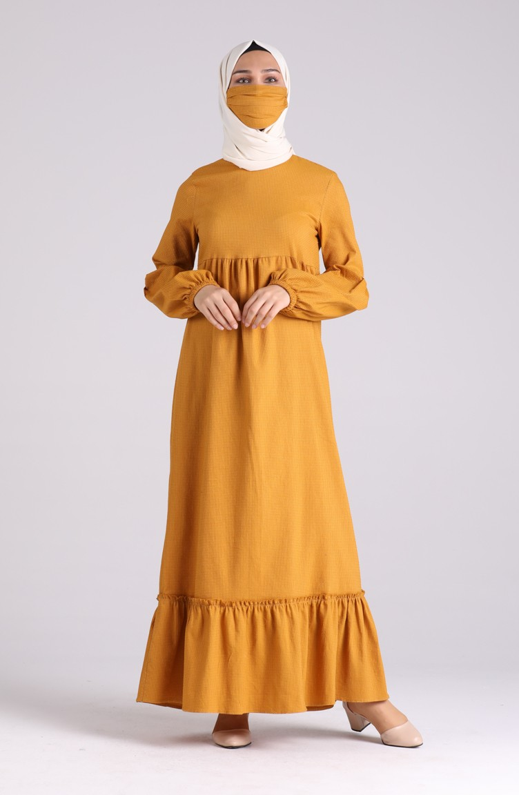 sefamerve tesettur elbise dlbr1410 06 5565161596027111757 1 Mustard Dress 1410-05