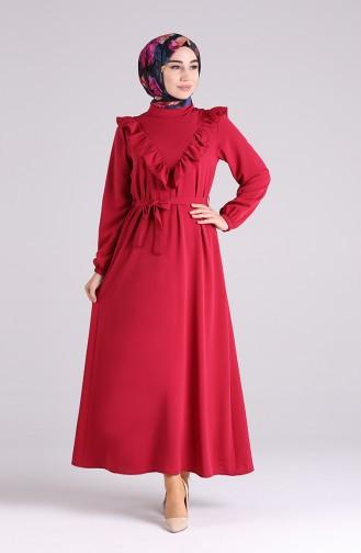 فستان أحمر كلاريت 1323-04