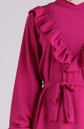 Ruffled Belted Dress 1323-05 Fuchsia 1323-05