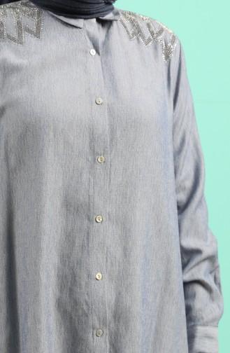 Büyük Beden Taşlı Gömlek 201151-01 İndigo 201151-01