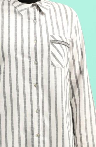 Büyük Beden Çizgili Gömlek 201580-03 Siyah 201580-03