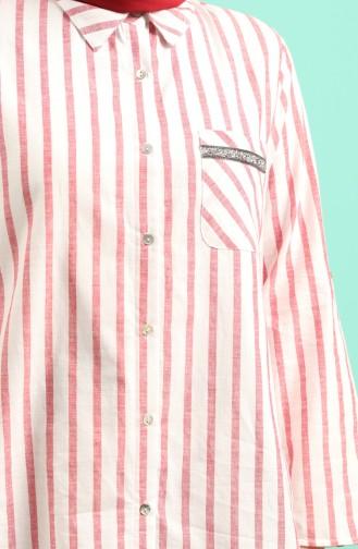 Büyük Beden Çizgili Gömlek 201580-04 Bordo 201580-04