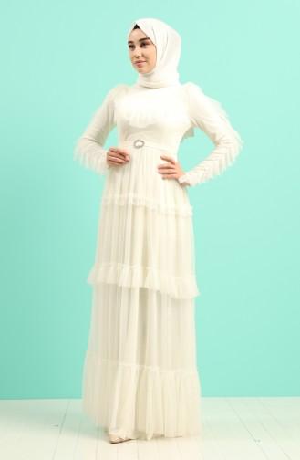 Ecru Islamic Clothing Evening Dress 1033-01
