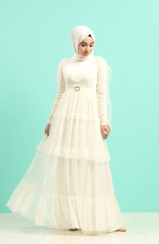Ecru İslamitische Avondjurk 1033-01