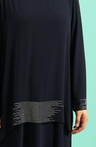 فساتين سهرة بتصميم اسلامي أزرق كحلي 6301-01