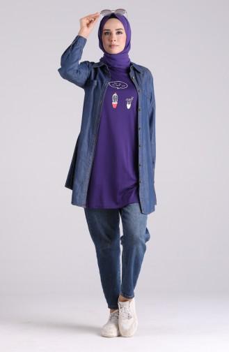 Bedrucktes Lange Tshirt 8134-11 Lila 8134-11