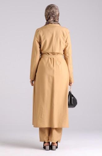 Belted Trench Coat Pants Double Suit 6861-06 Camel 6861-06