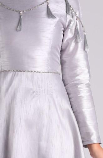 Jacquard Necklace Evening Dress 1018-02 Gray 1018-02