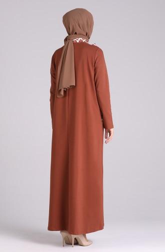 Ziegelrot Hijap Kleider 0840-02