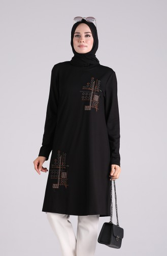 İşlemeli Tunik 1251-08 Siyah