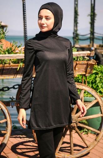 Black Swimsuit Hijab 1012