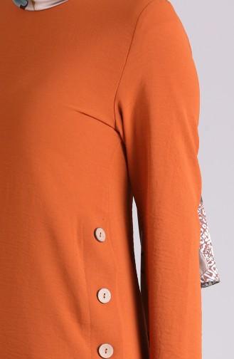 Düğme Detaylı Tunik Pantolon İkili Takım 4001-05 Taba