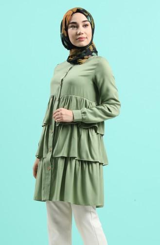 Fırfırlı Tunik 1408-04 Nefti Yeşil