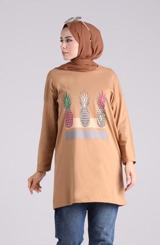 Baskılı Spor Tunik 2254-06 Camel
