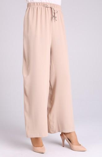Aerobin Fabric Elastic waist wide Leg Pants 5459-22 Dark Beige 5459-22