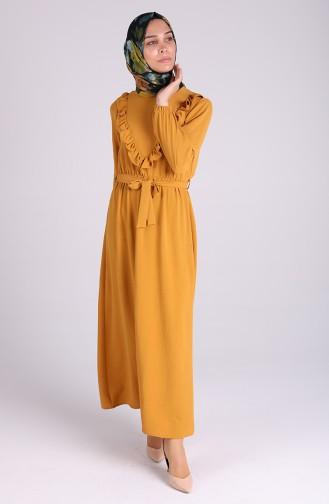 فستان أصفر خردل 0053-05