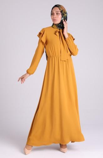 Tie Collar Dress 5157-03 Mustard 5157-03