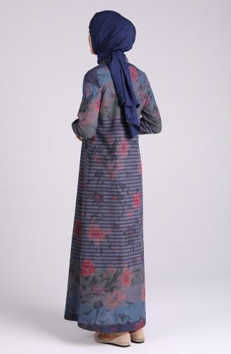 Floral-patterned Buttoned Dress 5164-04 Navy Blue 5164-04