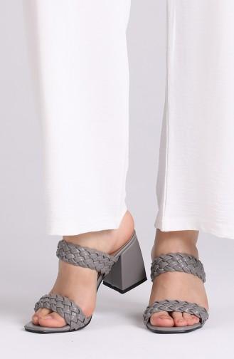 Bayan Yazlık Topuklu Terlik 0810-03 Gri