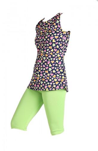 Grün Hijab Badeanzug 0123A-01