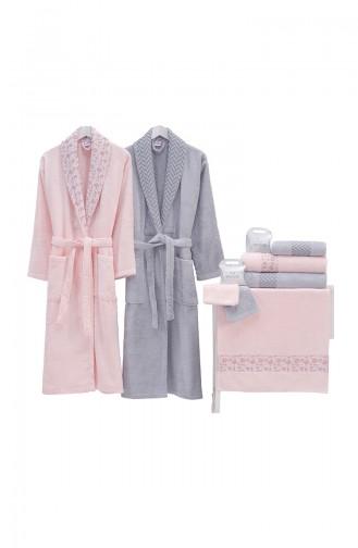 Grau Handtuch und Bademantel-Sets 000565-01