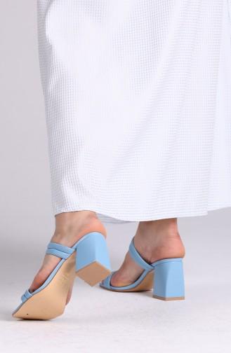 Bayan Yazlık Topuklu Terlik 0830-10 Mavi