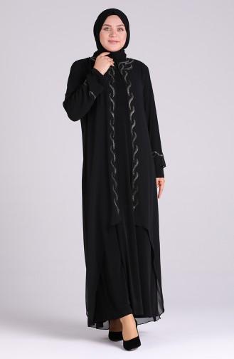 Schwarz Hijab-Abendkleider 4579-01