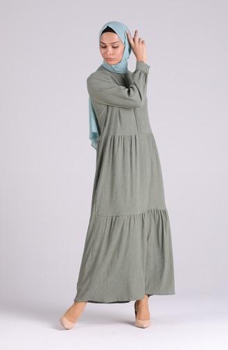 فستان كاكي داكن 5299-07