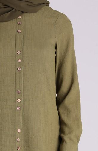 Düğme Detaylı Uzun Tunik 1294-03 Haki